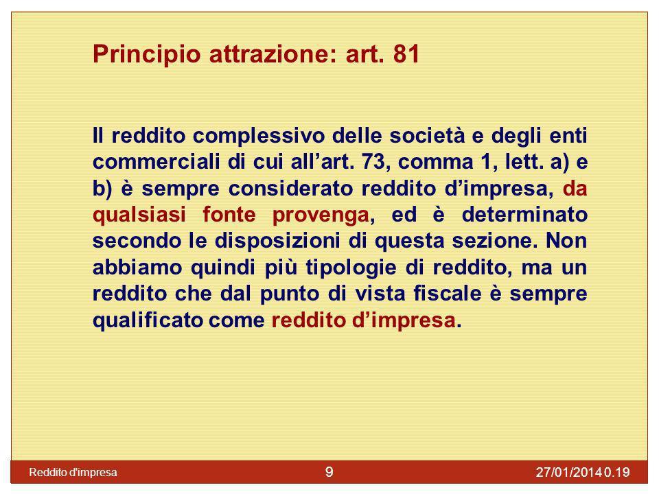 Principio attrazione: art. 81