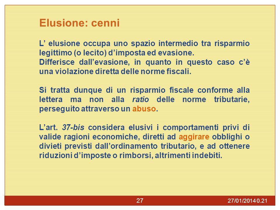 Elusione: cenni L' elusione occupa uno spazio intermedio tra risparmio legittimo (o lecito) d'imposta ed evasione.