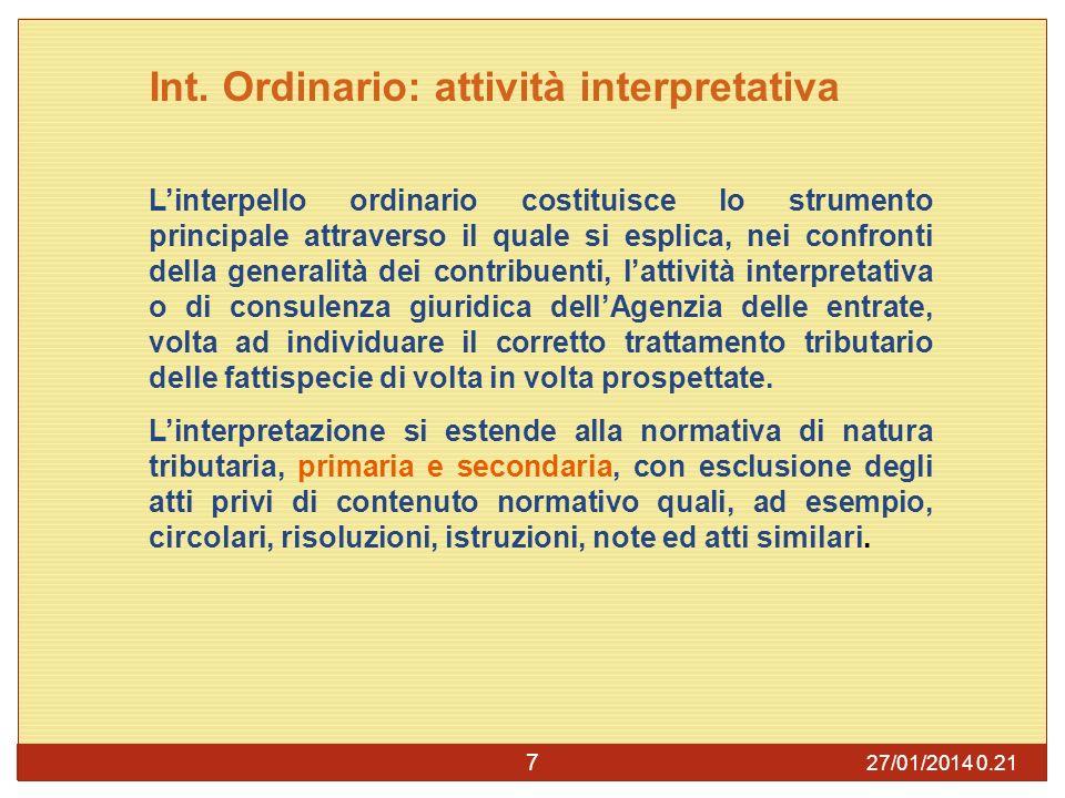 Int. Ordinario: attività interpretativa