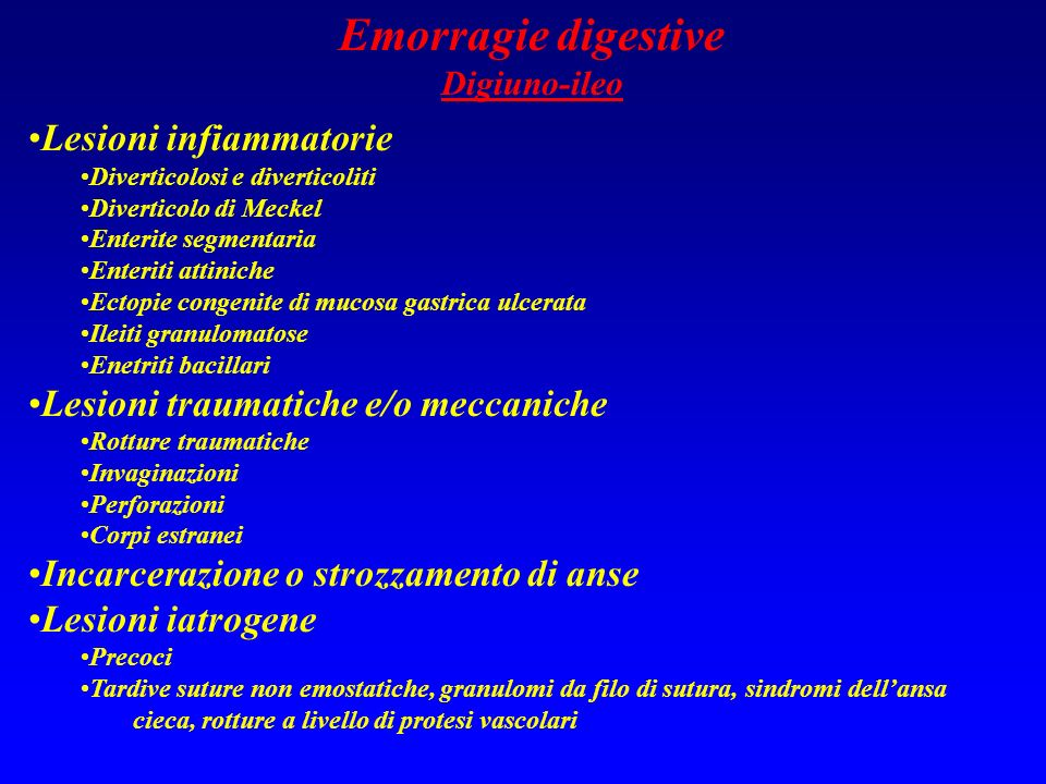 Emorragie digestive Lesioni infiammatorie
