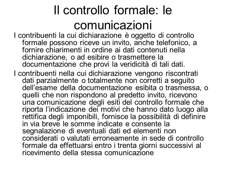 Il controllo formale: le comunicazioni