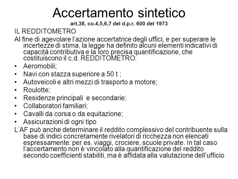 Accertamento sintetico art.38, co.4,5,6,7 del d.p.r. 600 del 1973