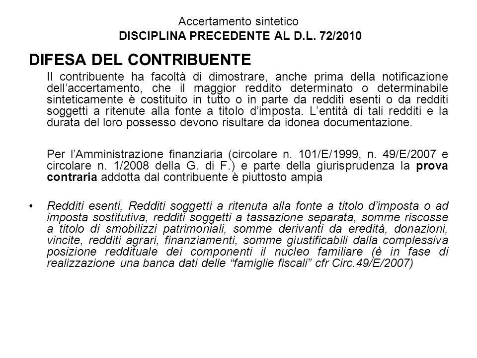 Accertamento sintetico DISCIPLINA PRECEDENTE AL D.L. 72/2010