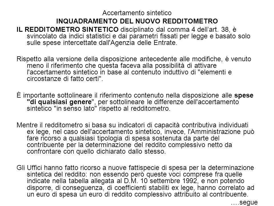 Accertamento sintetico INQUADRAMENTO DEL NUOVO REDDITOMETRO