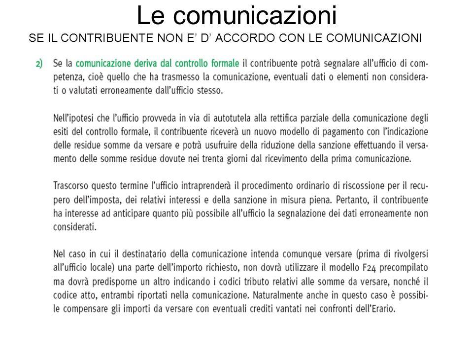 Le comunicazioni SE IL CONTRIBUENTE NON E' D' ACCORDO CON LE COMUNICAZIONI