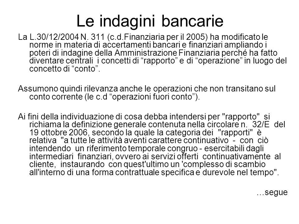 Le indagini bancarie