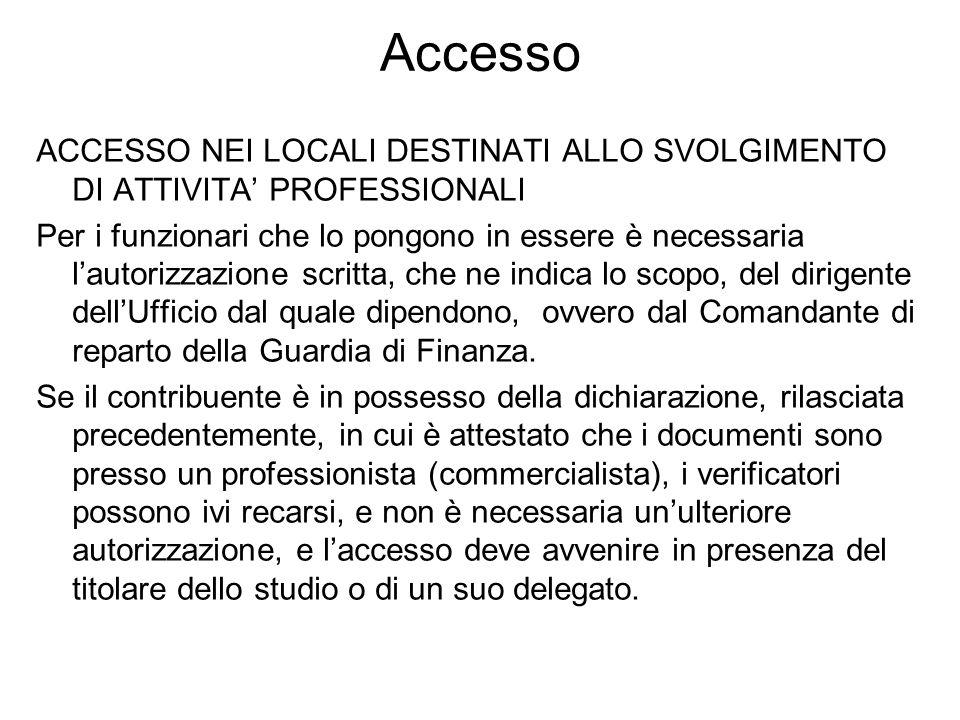 Accesso ACCESSO NEI LOCALI DESTINATI ALLO SVOLGIMENTO DI ATTIVITA' PROFESSIONALI.