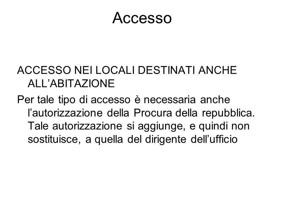 Accesso ACCESSO NEI LOCALI DESTINATI ANCHE ALL'ABITAZIONE