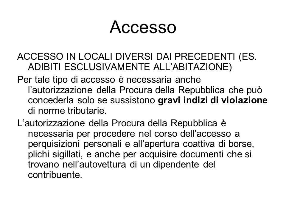 Accesso ACCESSO IN LOCALI DIVERSI DAI PRECEDENTI (ES. ADIBITI ESCLUSIVAMENTE ALL'ABITAZIONE)