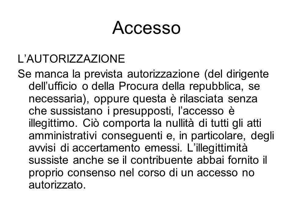 Accesso L'AUTORIZZAZIONE