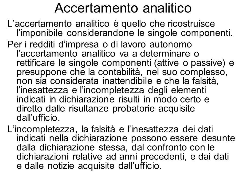 Accertamento analitico
