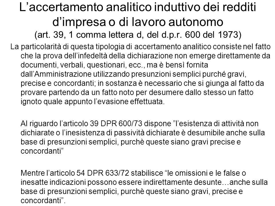 L'accertamento analitico induttivo dei redditi d'impresa o di lavoro autonomo (art. 39, 1 comma lettera d, del d.p.r. 600 del 1973)