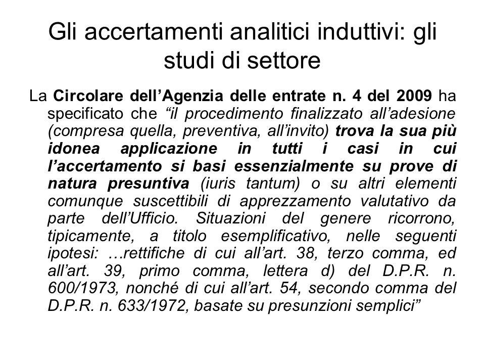 Gli accertamenti analitici induttivi: gli studi di settore