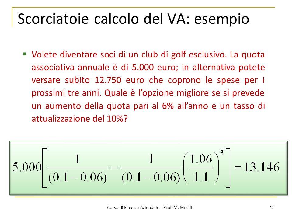 Scorciatoie calcolo del VA: esempio