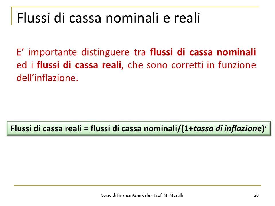 Flussi di cassa nominali e reali