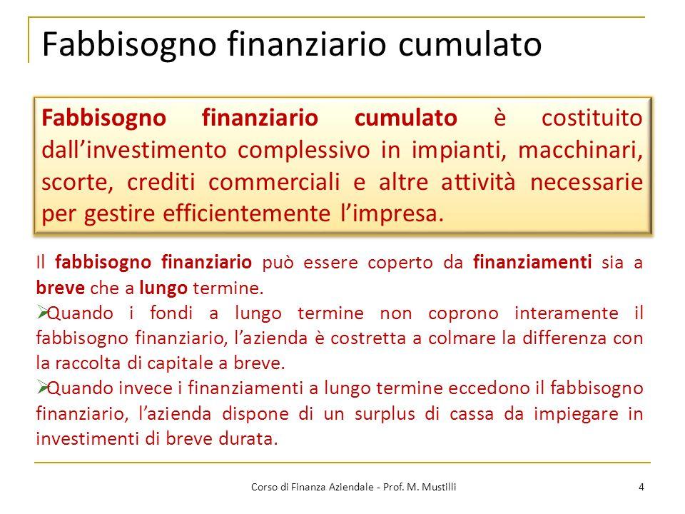 Fabbisogno finanziario cumulato