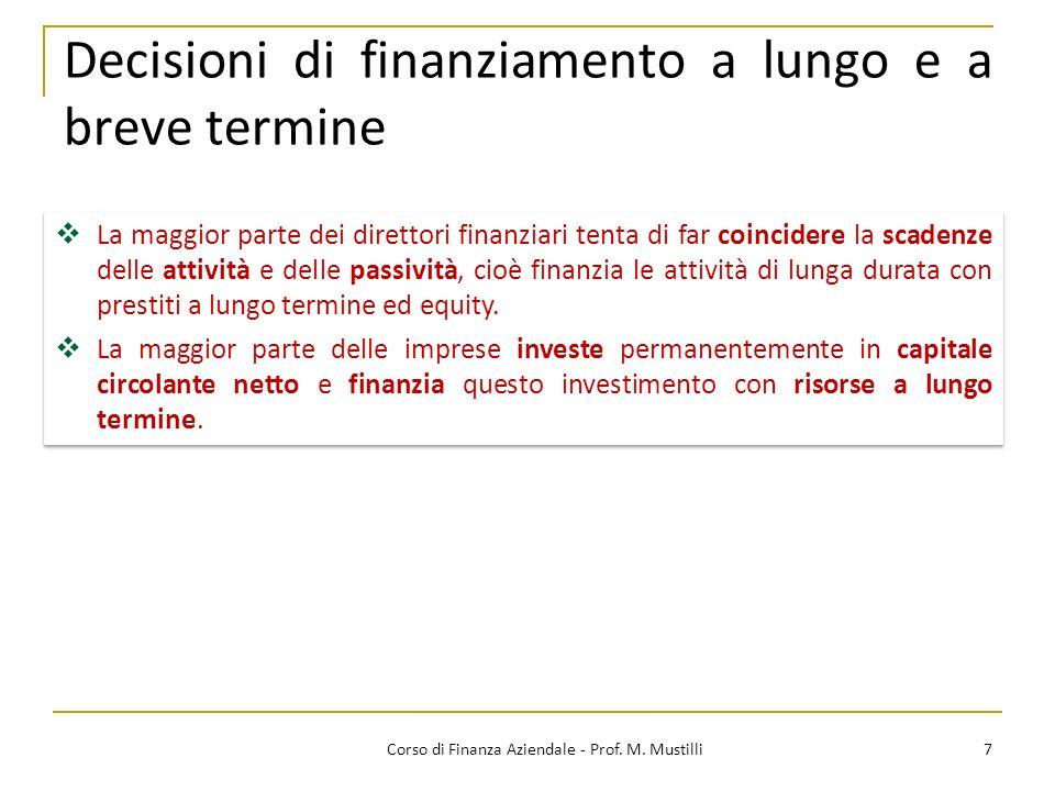 Decisioni di finanziamento a lungo e a breve termine