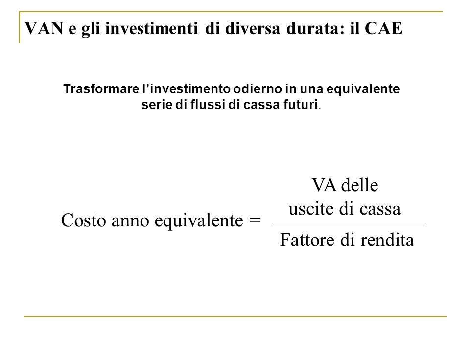 VAN e gli investimenti di diversa durata: il CAE