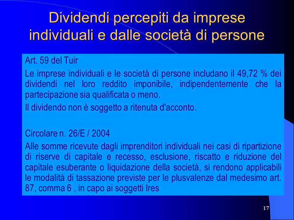 Dividendi percepiti da imprese individuali e dalle società di persone