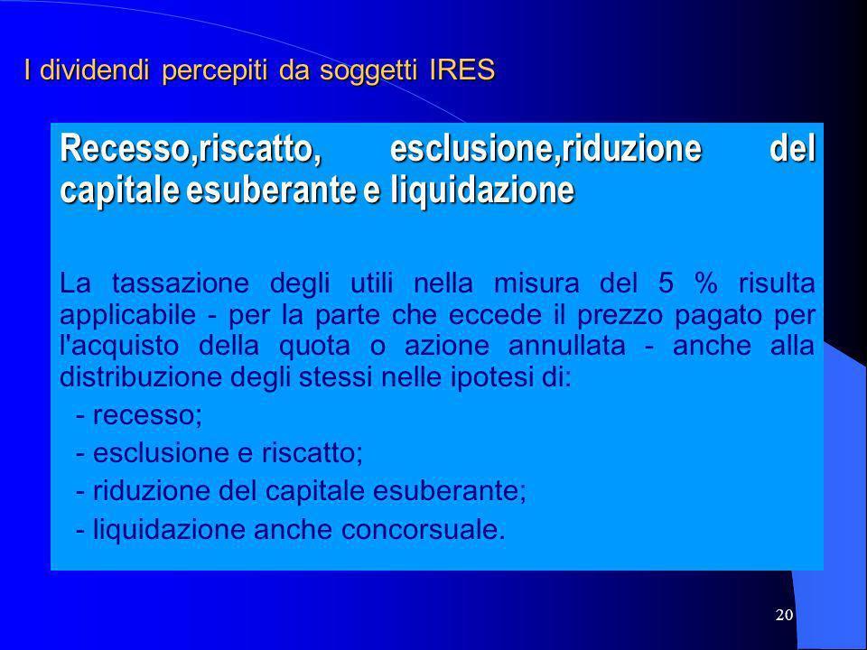 I dividendi percepiti da soggetti IRES