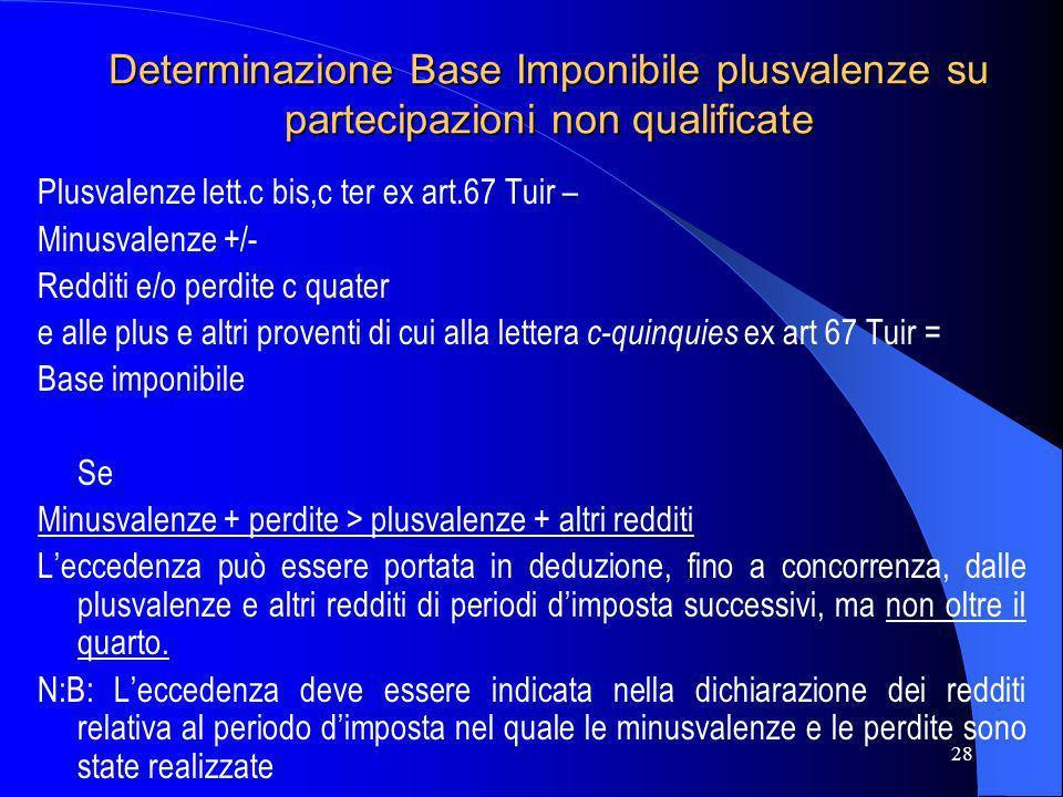 Determinazione Base Imponibile plusvalenze su partecipazioni non qualificate