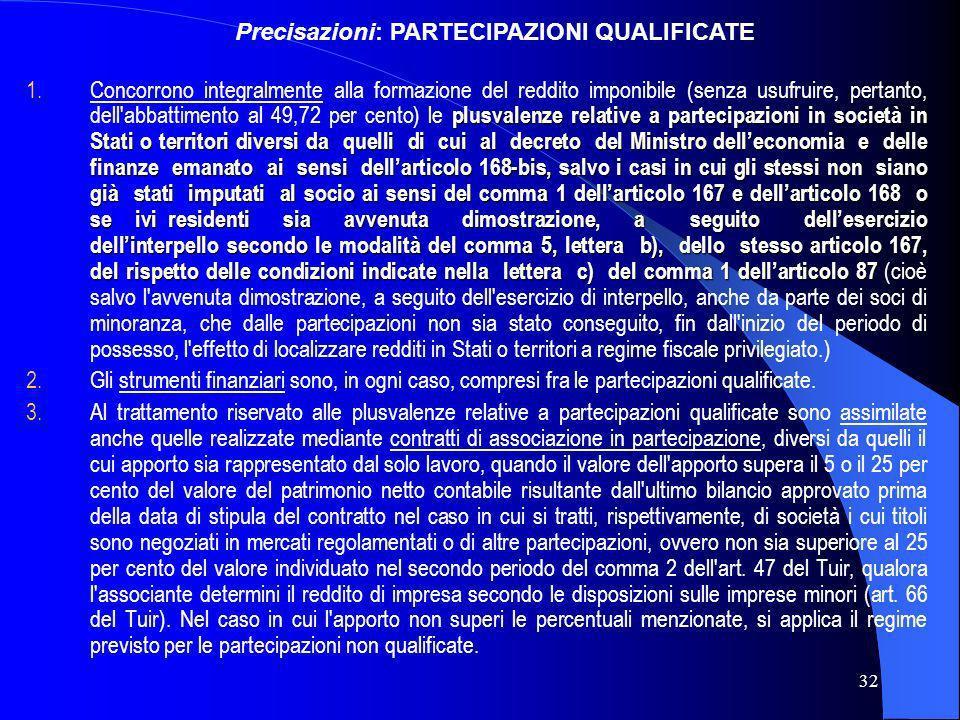 Precisazioni: PARTECIPAZIONI QUALIFICATE