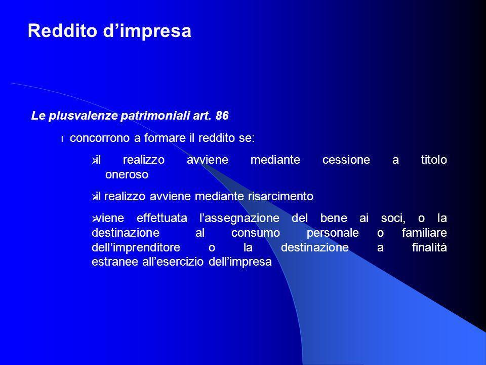 Reddito d'impresa Le plusvalenze patrimoniali art. 86