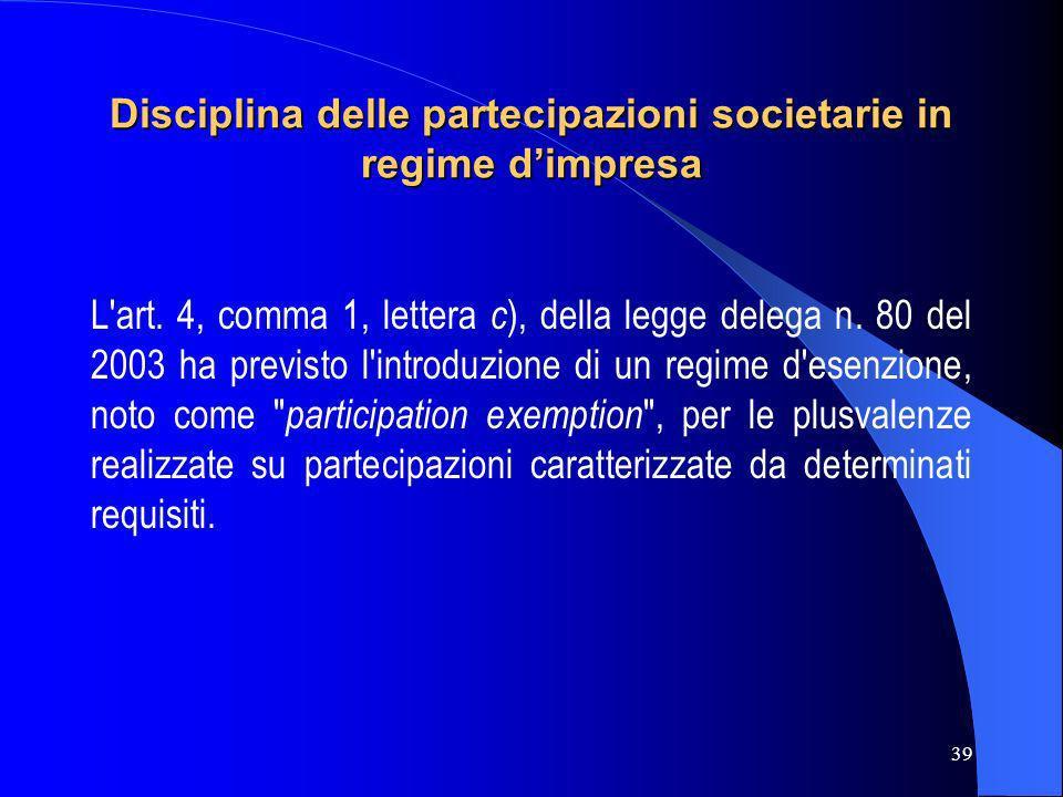 Disciplina delle partecipazioni societarie in regime d'impresa