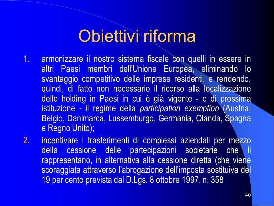 Obiettivi riforma