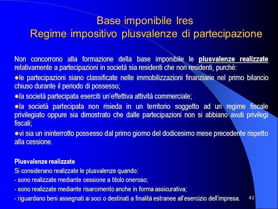 Base imponibile Ires Regime impositivo plusvalenze di partecipazione