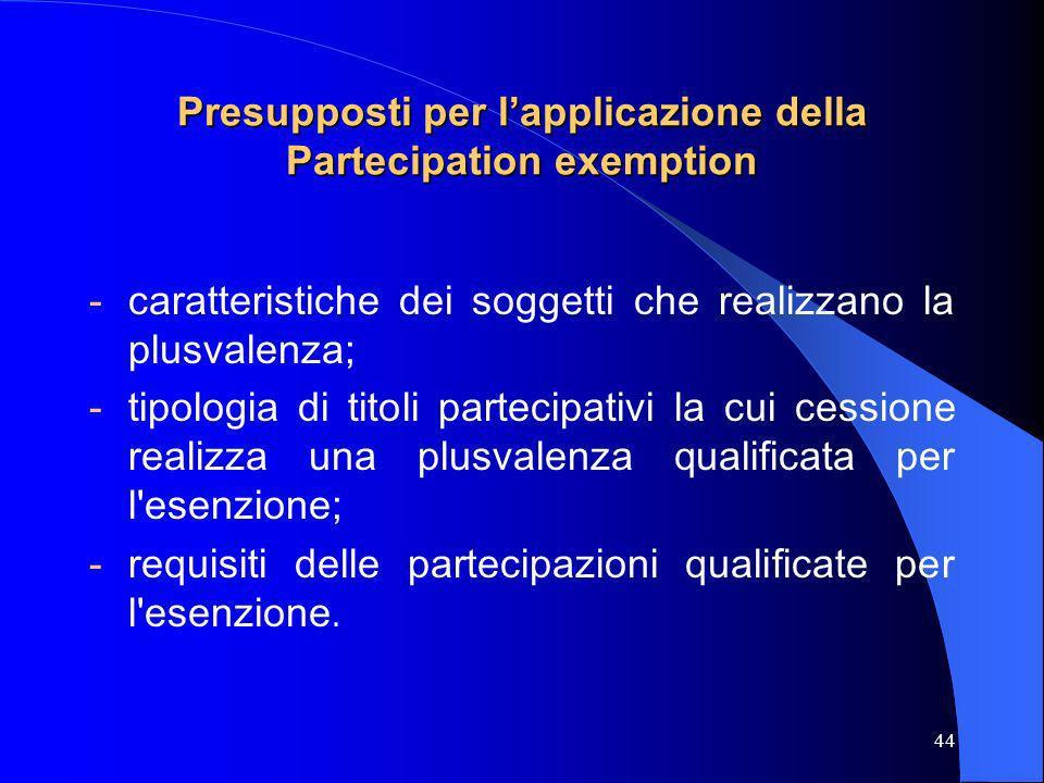 Presupposti per l'applicazione della Partecipation exemption