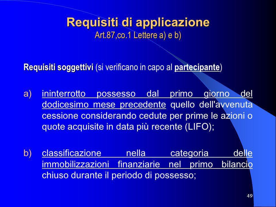 Requisiti di applicazione Art.87,co.1 Lettere a) e b)