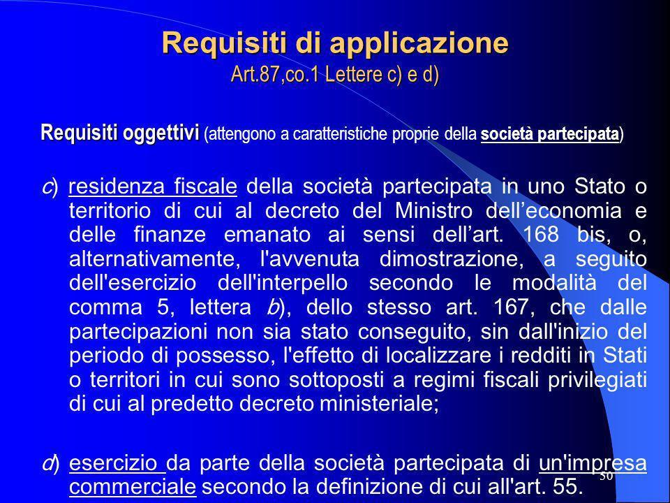 Requisiti di applicazione Art.87,co.1 Lettere c) e d)