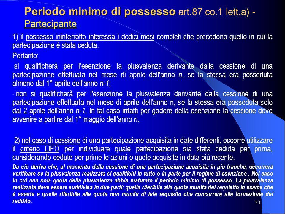 Periodo minimo di possesso art.87 co.1 lett.a) - Partecipante
