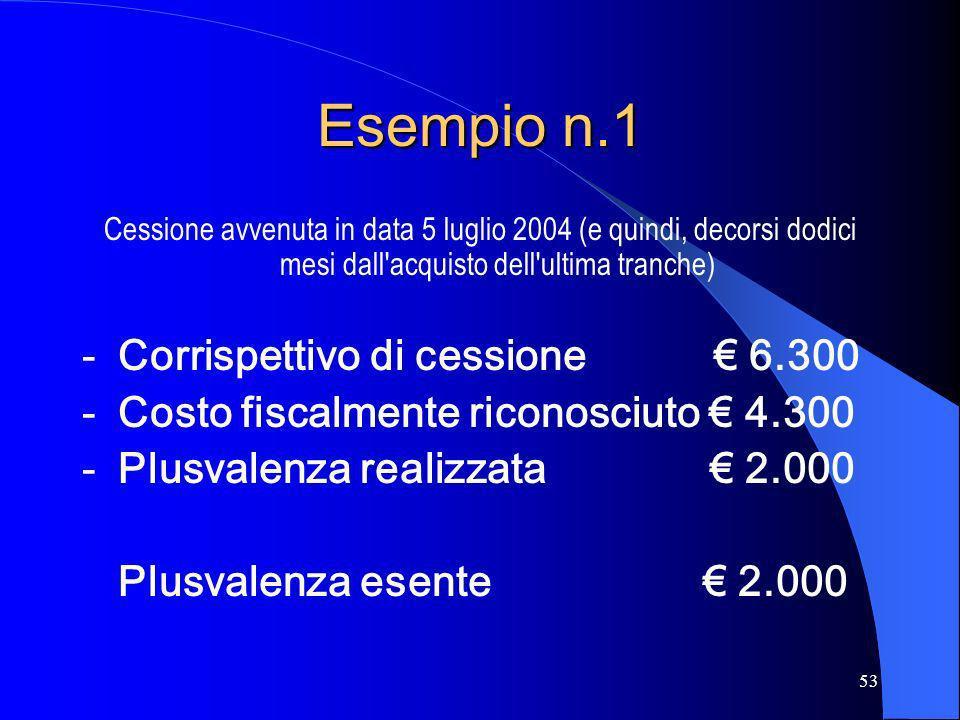 Esempio n.1 Corrispettivo di cessione € 6.300