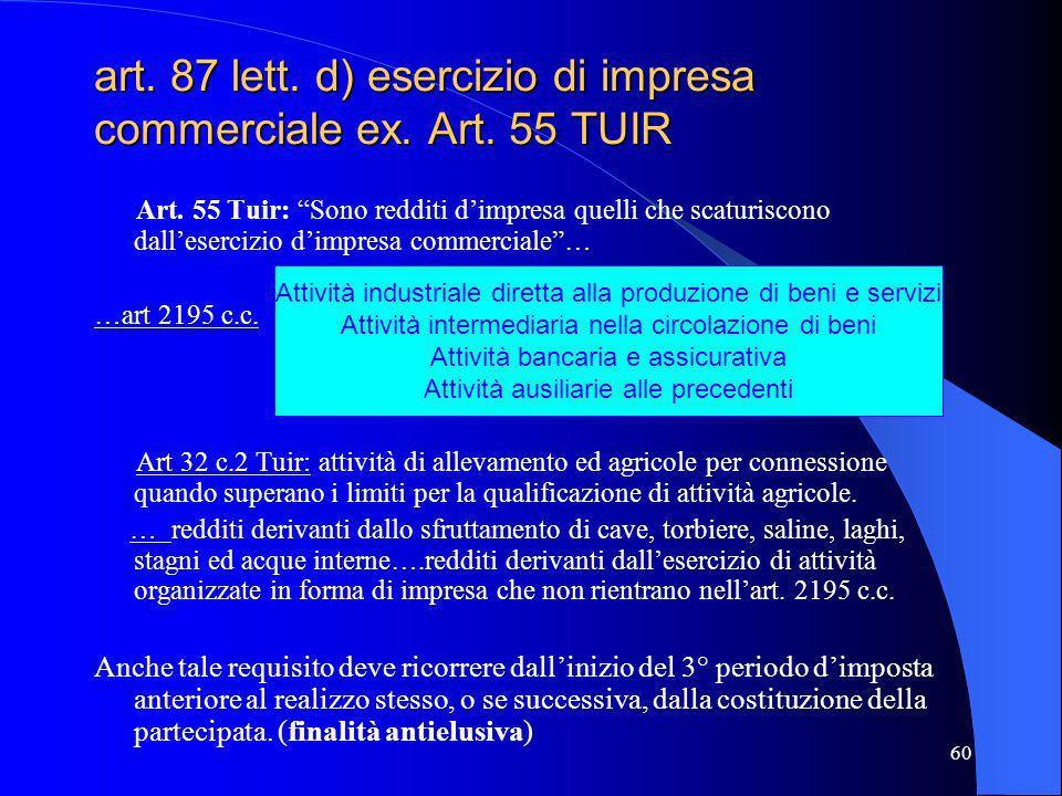 art. 87 lett. d) esercizio di impresa commerciale ex. Art. 55 TUIR