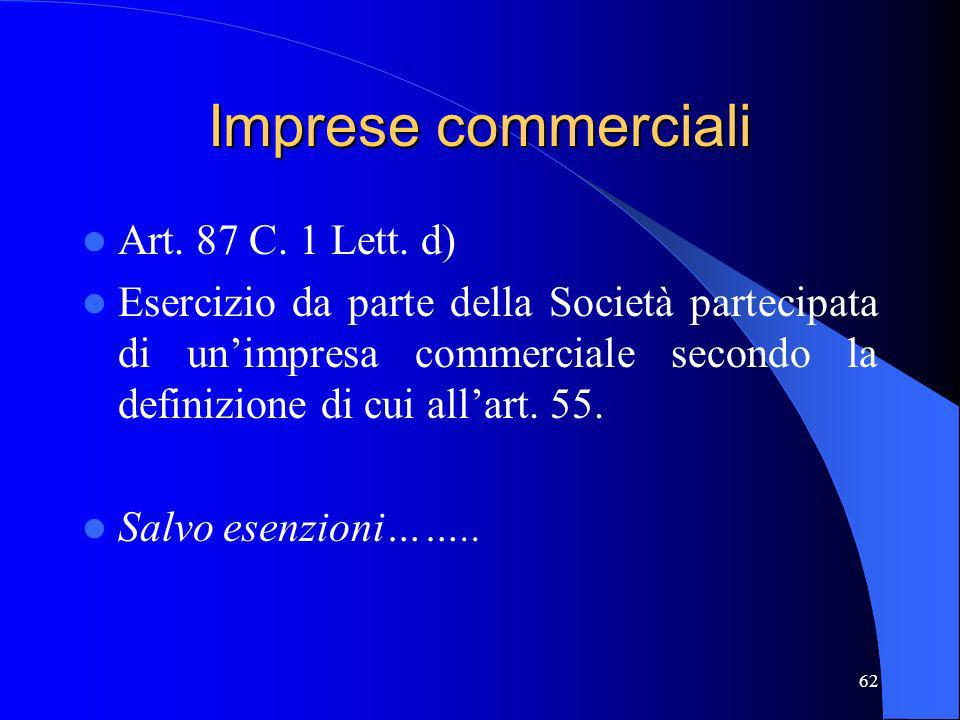 Imprese commerciali Art. 87 C. 1 Lett. d)