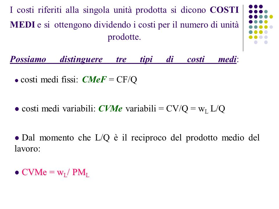 costi medi variabili: CVMe variabili = CV/Q = wL L/Q