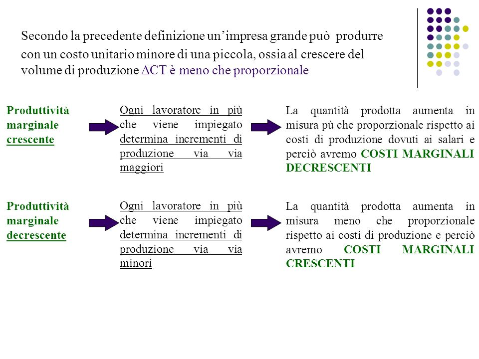 Secondo la precedente definizione un'impresa grande può produrre con un costo unitario minore di una piccola, ossia al crescere del volume di produzione ΔCT è meno che proporzionale