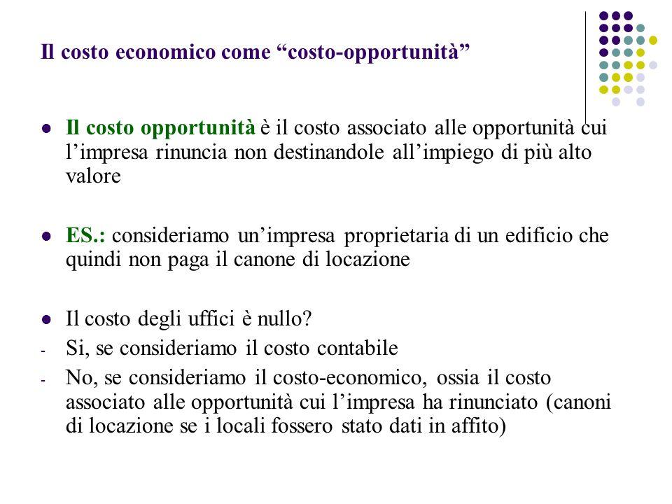 Il costo economico come costo-opportunità