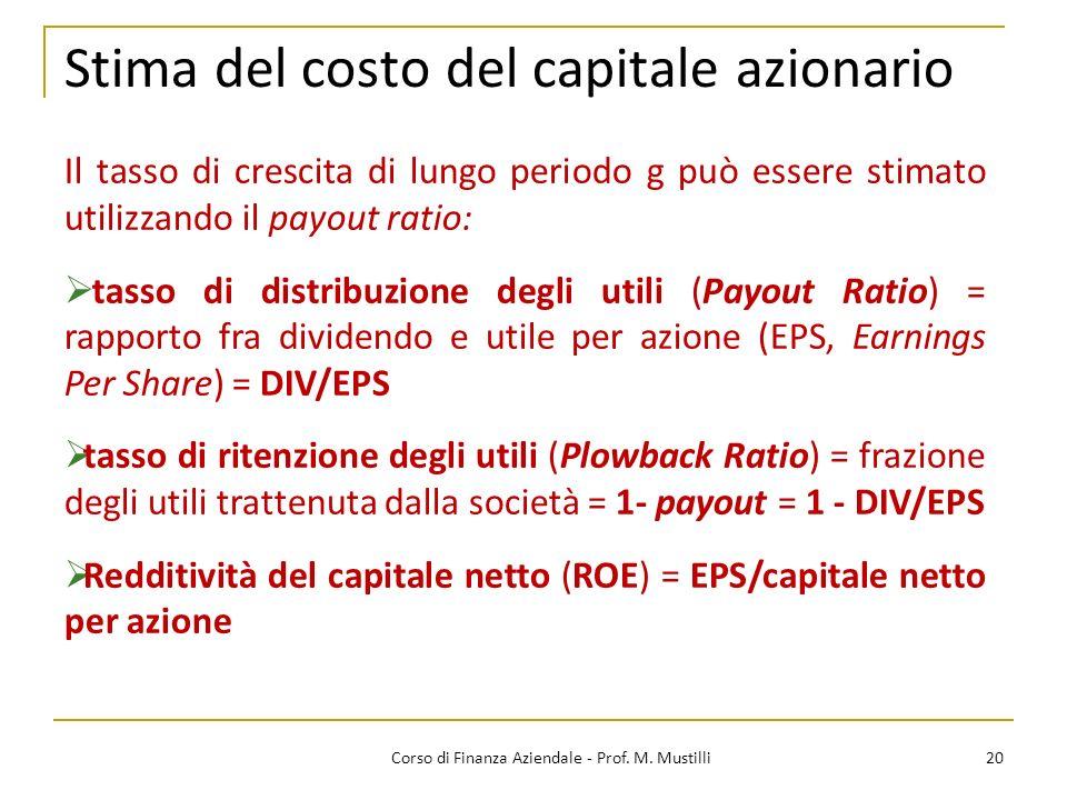 Stima del costo del capitale azionario