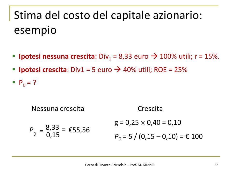 Stima del costo del capitale azionario: esempio