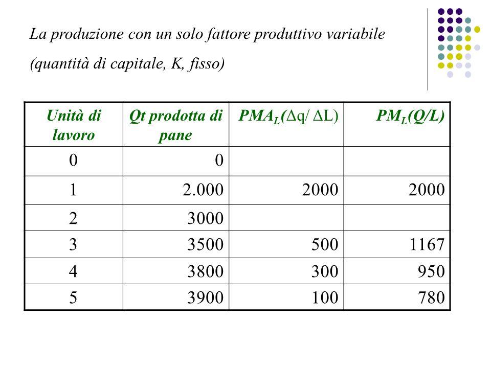 La produzione con un solo fattore produttivo variabile