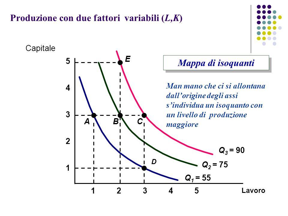 Produzione con due fattori variabili (L,K)