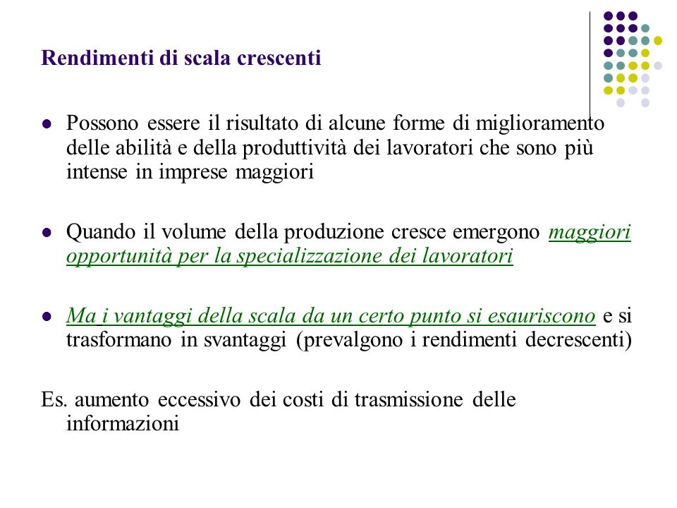 Rendimenti di scala crescenti