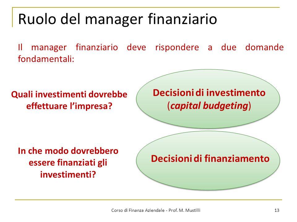 Ruolo del manager finanziario