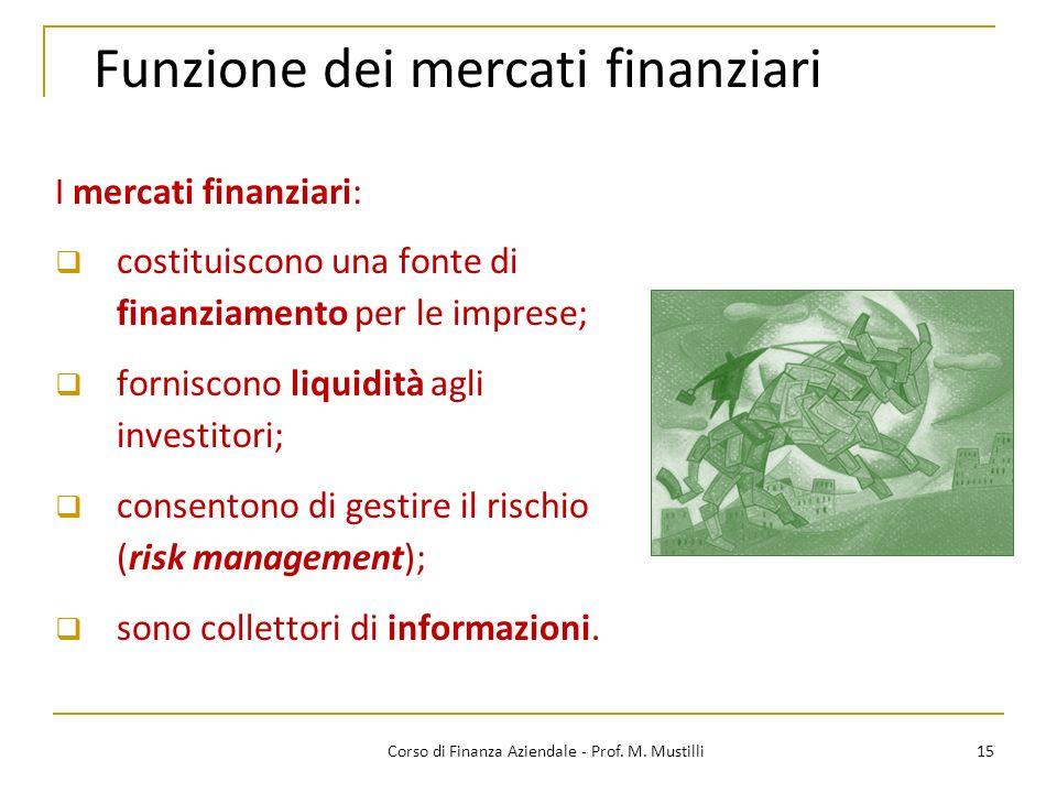Funzione dei mercati finanziari