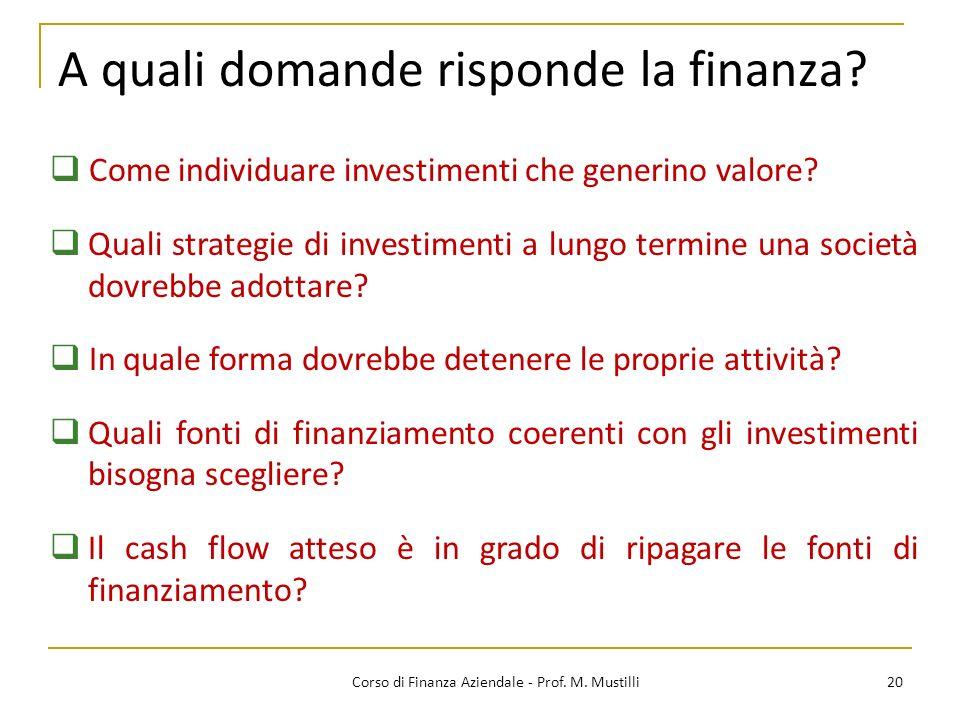 A quali domande risponde la finanza