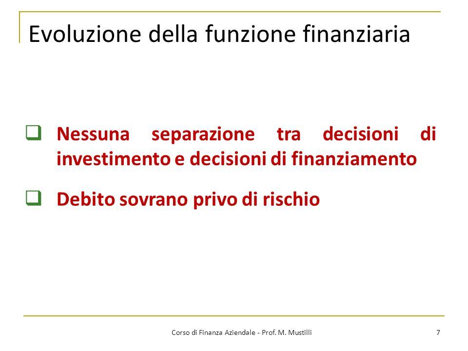 Evoluzione della funzione finanziaria