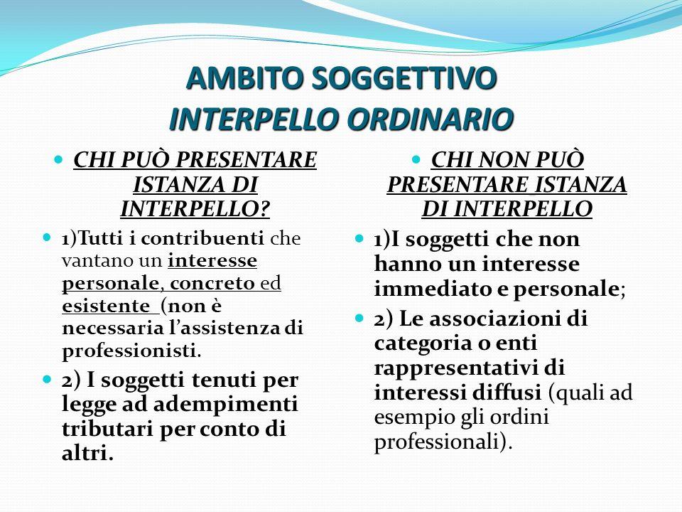 AMBITO SOGGETTIVO INTERPELLO ORDINARIO